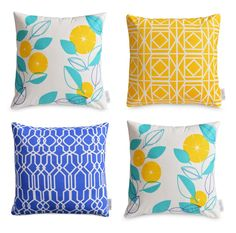 4 x waterproof outdoor cushion covers greek blue yellow aqua