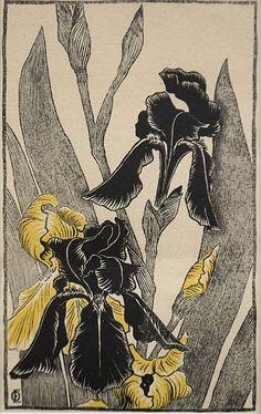irises  Otto Eckmann (1865-1902)  color woodcut, 21,8 x 12,5 cm