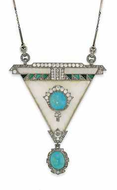 AN ART DECO ROCK CRYSTAL, TURQUOISE AND DIAMOND PENDANT The carved rock crystal triangular panel set to the centre with a turquoise cabochon and old-cut diamond cluster, with further buff top turquoise and rose-cut diamond geometric band detail, suspending a later turquoise and diamond drop and associated fine bar and link chain, circa 1925, pendant 8.5cm long