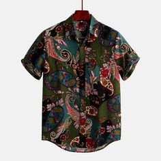 Men's Ethnic Style Floral Printing Shirt Turn Down Collar Short Sleeve Shirt Men's Fashion, Ethnic Fashion, Fashion Shirts, Fashion Tips, Mens Vintage Shirts, Vintage Men, Paisley, Henley Shirts, Summer Shirts