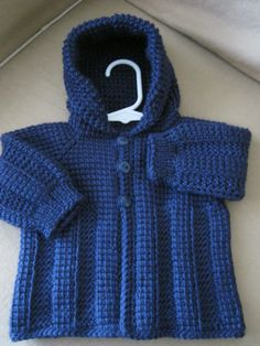 Dark Navy Blue Crochet Baby Boy Sweater with Hood. 0-6 Months in Tunisian Crochet - Handmade