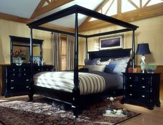 Black furniture in bedroom