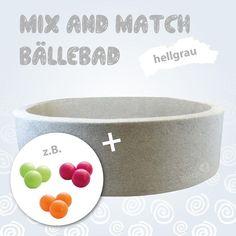 Mix & Match Bällebad rund in hellgrau, 110 x 30 cm, inkl. 400 Bällen mit freier Farbwahl