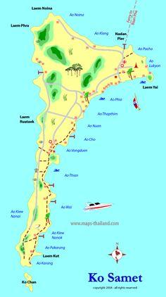 thailand   map of ko samet, thailand travel map