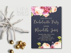Printable Navy and Pink Bridal Shower Invitation - Floral Bridal Shower Invitation - Peonies Bridal Shower Invitation Hens Night Invitations, Bachelorette Party Invitations, Wedding Invitation Sets, Floral Invitation, Bridal Shower Invitations, Wedding Stationery, Invites, Wedding Favors, Pink Invitations