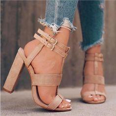 Strappy Suede Block Heel Sandals - Khaki