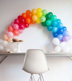 One of my favorite DIY's. This mini balloon rainbow is on on the blog. http://www.ohhappyday.com by ohhappyday