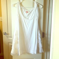 Flowing tunic from Anthropologie White tunic with lace on flanks.  Tank straps.  Great transitional layering piece, and In great condition! Anthropologie Tops Tunics