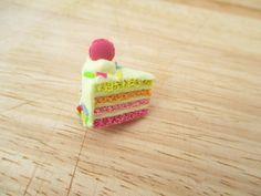 Pink Lemonade Cake Slice Magnet Handmade by FlourCityCharms
