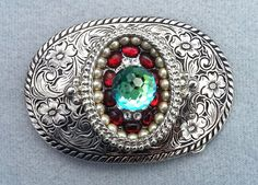 Silver belt buckle, Western, Bling, Women's, Austrian crystal, Vintage pearls, Boho, Free shipping, Holiday gift