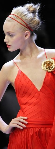 Orange Crush, Red Fashion, Red Gold, Lady In Red, Coral, Couture, Formal Dresses, Opera, Style