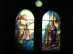 smith museum of stained glass windows - This angel is found in the annunciation  window of St Paul's church in Troy, NY