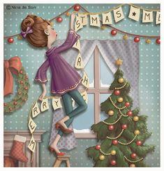 (describe esta imagen) pistas: decoración, navidades, árbol, guirnaldas...vacaciones, familia... NIna de San