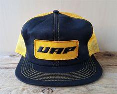 24a57d805db8d Vintage 80s UAP (United Auto Parts) Golden Mesh Trucker Hat Snapback Cap K-