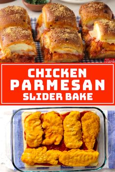 Chicken Parmesan Slider Bake - The ingredients and how to make it please visit the website Recipes Using Cooked Chicken, Chicken Recipes Dairy Free, Easy Chicken Dinner Recipes, Low Carb Chicken Recipes, Canned Chicken, Rice Recipes, Pasta Recipes, Yummy Recipes, Crockpot Recipes