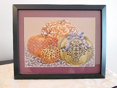 Elegant Pumpkins Framed Cross Stitch -- Pattern from Just Cross Stitch magazine