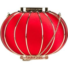 Pre-owned Charlotte Olympia Brand New 'lantern' Gold And Red Clutch ($2,500) ❤ liked on Polyvore featuring bags, handbags, clutches, gold and red, chain handle handbags, preowned handbags, red clutches, charlotte olympia clutches and clasp purse