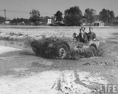 New military general purpose vehicle the GP, better known as a Jeep, being tested on a steep incline at Camp Holabird. Location: Baltimore City, MD, US Date taken: 1940