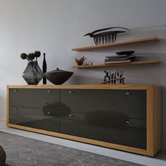 Contemporary sideboard / lacquered wood / oak / glass XELO  hülsta