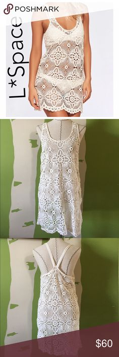 L*Space crochet Lucy dress coverup, size L, NWT! L*Space crochet Lucy dress coverup, size L, color is natural, NWT!  I do not have the liner for it, as pictured. l*space Swim Coverups