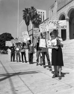 """Free the Nine"" anti-Parker Protest, C.O.R.E protest against police brutality, Los Angeles City Hall. Image published in the California Eagle, July 12, 1962. Harry Adams Collection. Tom & Ethel Bradley Center Photographs."