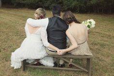 Maid of honor + bride + groom