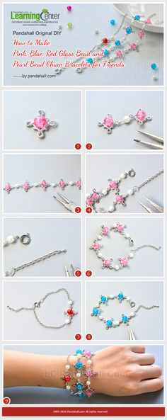 Pandahall Original DIY - How to Make Pink, Blue, Red Glass Bead and Pearl Bead Chain Bracelets from LC.Pandahall.com