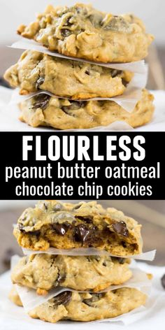 Flourless Peanut Butter Oatmeal Chocolate Chip Cookies - so easy to make and a healthier alternative to regular cookies! Healthy Cookies, Healthy Sweets, Healthy Baking, Healthy Snacks, Healthy Recipes, Easy Cookie Recipes, Nutritious Meals, Peanut Butter Oatmeal, Oatmeal Chocolate Chip Cookies