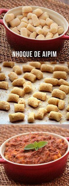 Receita nhoque de aipim ou mandioca. O diferencial dessa receita é que ele não precisa ser cozido em água. Vai direto para o forno com o molho.