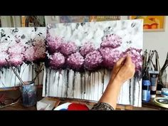 Hogyan festhetünk akrillal absztrakt Hortenziákat? Magyar! - YouTube