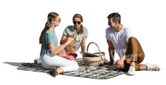 cut out group of three people having a picnic