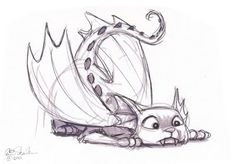 Cat dragon sketch by Eric Scales. Dragons and cats are two of my favorite things. So a dragon/cat seems like a good idea for my tattoo, especially since both tattoos I have so far are fantasy inspired.