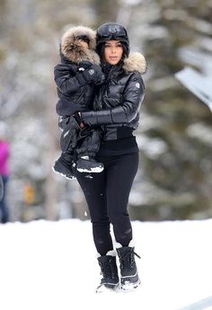 Mommy Kim Kardashian & baby North all bundled up for Winter.