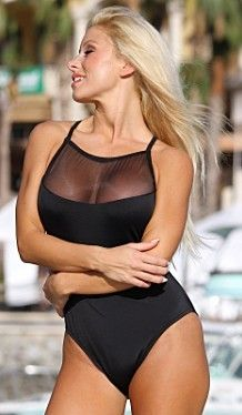 Sexy Sheer Top One Piece Swimsuit. #onepiece #one #one #piece #swimsuits