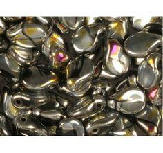 50pcs PIP Beads 7x5mm Pressed Czech Glass Jet Network Vitrail