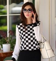 2013 a primavera eo outono solta o-pescoço xadrez de manga comprida chiffon camisa blusa top t1108