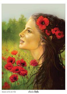 SARAH, la fée de l'été, (pastel on paper) by Sandrine Gestin Pastel, Mona Lisa, Artist, Artwork, Painting, Cake, Work Of Art, Auguste Rodin Artwork, Artists