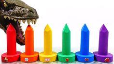 Learn Colors Kinetic Sand Rainbow Screws vs Giant Dinosaur Surprise Toys... Giant Dinosaur, Kinetic Sand, Learning Colors, Rainbow, Toys, Rain Bow, Activity Toys, Rainbows, Clearance Toys