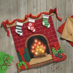 Shop Plaid Bucilla ® Seasonal - Felt - Home Decor - Fireside Glow Wall Hanging with Lights - 86821 Christmas Canvas, Felt Christmas, Christmas Stockings, Christmas Ornaments, Crochet Christmas, Xmas, Wall Hanging Lights, Felt Wall Hanging, Felt Decorations