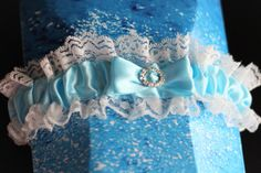 Sky Blue Wedding Bridal Garters Set Lace Wedding by AlexEmotions