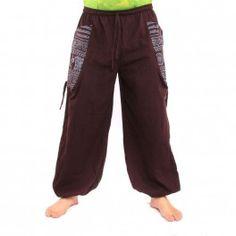 pantalones tailandeses OM Goa impresión floral del algodón grueso de color marrón oscuro
