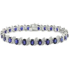 Sofia B 13 2/9 CT TW Created Blue Sapphire and Diamond Sterling Silver Bracelet