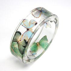 Mint Bracelet, Blue and Green Butterflies in Clear Resin Bangle, Animal Bracelet, Botanical Jewelry