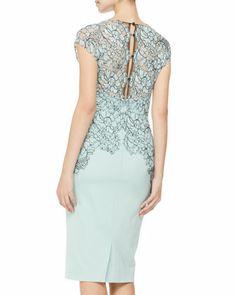 Lela Rose Cap-Sleeve Placed-Lace Dress - Neiman Marcus