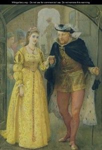 Henry VIII and Anne Boleyn by Arthur Hopkins c. 1860's-1870. Depicts the day of the funeral of Henry VIII´s first wife, Catalina of Aragon. Sources of the time say both wore yellow, which in Tudor´s time was the color of celebration. Nice