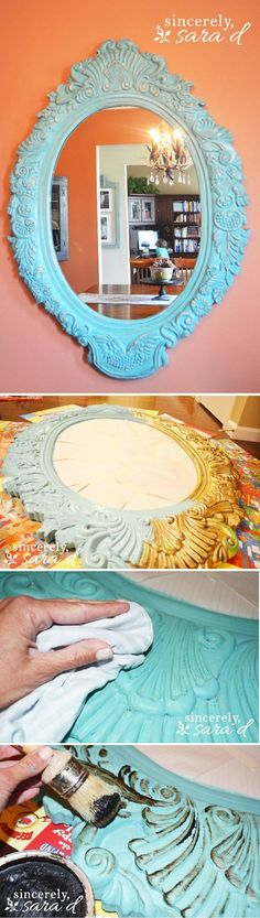 DIY Chalk Paint Distressed Furniture Tutorial | Chalk Paint Mirror by DIY Ready at http://diyready.com/16-more-diy-chalk-paint-furniture-ideas/