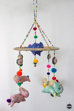 Tribal Baby Cats Crib Mobile Hanging / by MangkudHandmade on Etsy