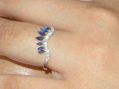 Argent Silver Handmade Faux Diamond Sapphire Wedding Engagement Ring,bridal Band,Stackable Bijoux,Unusual cocktail ring Boho,bague en argent