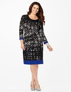 Geo Contrast Shift Dress: Fun geometric patterns roll over our classic fit shift.  The embellished neckline creates an excitingly accessorized look. Contrast cobalt paneling adds interest to the flattering hem and sleeve lengths. Scoop neckline. Three-quarter sleeves. Stretch material. Catherines dresses are expertly designed for the plus size woman. catherines.com #catherines #plussizefashion #springstyle #newlineup