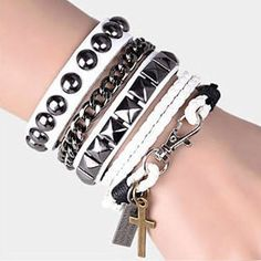 White Leather Metal Gothic Punk Rock Fashion Jewelry Bangles Men Women SKU-71113098